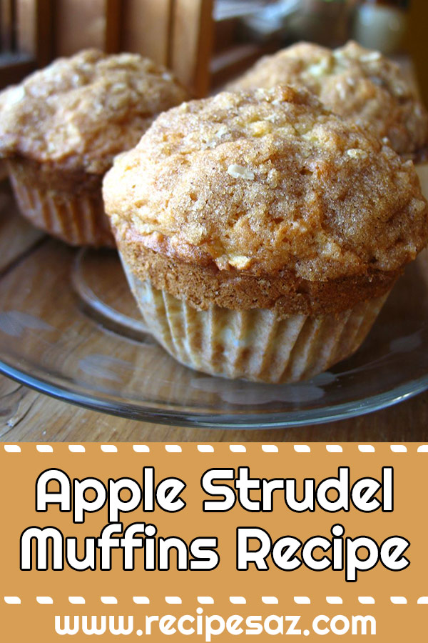 Apple Strudel Muffins Recipe - Fabulous apple muffins with a delicious cinnamon crumb topping #apple #muffins #muffinsrecipe #applemuffins #applemuffinsrecipe #applestrudelmuffins