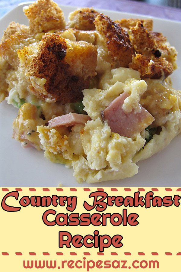 Country Breakfast Casserole Recipe - A one-dish casserole with all of your Sunday morning favorites: sausage, gravy, eggs, cheese, and toast. #countrybreakfast #countrycasserole #breakfastcasserole #breakfastcasserolerecipe #casserole #casseroles #casserolerecipe #casserolerecipes #recipes #breakfastrecipe #breakfastrecipes
